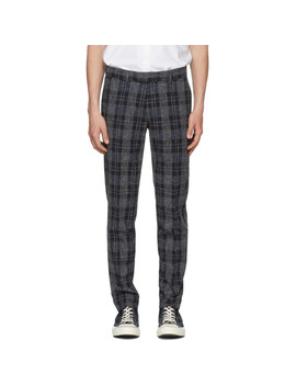 Navy & Grey Gordon Check Trousers by Tiger Of Sweden