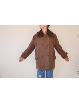 Wool Blend Long Coat Brown Coat Fuzzy Slouch Long Plaid Wool 60s Coat Size Large Trench Coat Brown Wool Coat Fur Collar Winter by Rellu Finds Vintage
