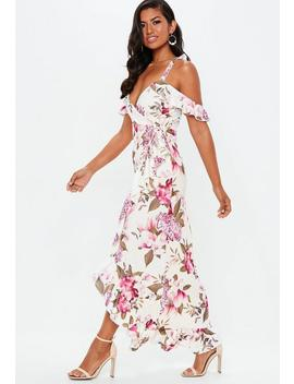 Purple Floral Frill Wrap Maxi Dress by Missguided