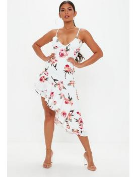 White Strappy Floral Frill Hem Midi Dress by Missguided
