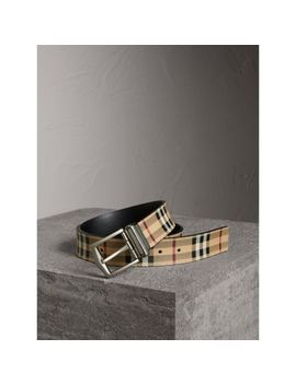 Reversible Haymarket Check And Leather Belt by Burberry