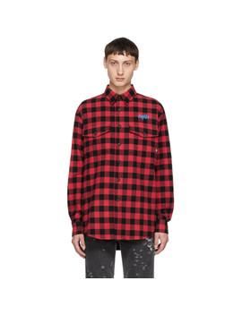 Red & Black Cupido Shirt by Marcelo Burlon County Of Milan