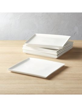 Tuck White Square Dinner Plates Set Of 8 by Crate&Barrel