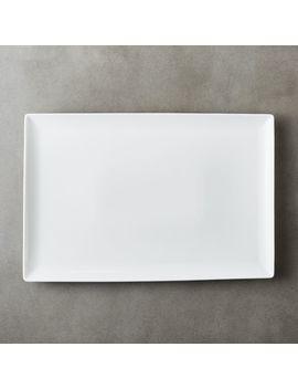 Tuck White Rectangular Platter by Crate&Barrel
