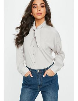 Grey Satin Tie Neck Blouse by Missguided