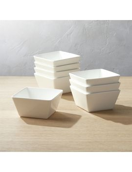 Tuck White Square Soup Bowls Set Of 8 by Crate&Barrel