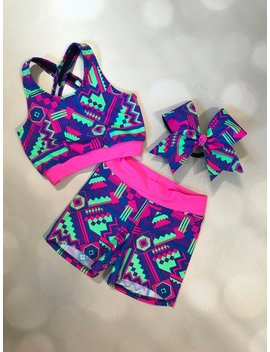 "The ""Adie"" Neon Crop Top X Back Sports Bra, Spandex Shorts, And Optional Matching Cheer Bow / Practice Wear / Cheer Bra / Girls Dancewear by Am Pt Activewear"