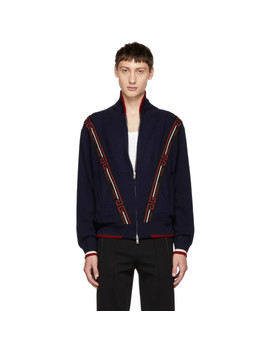 Blue Knit Bomber by Givenchy
