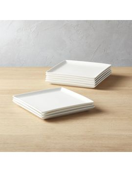 Tuck White Square Salad Plates Set Of 8 by Crate&Barrel