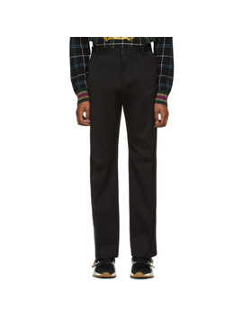 Black Cotton Trousers by Versace