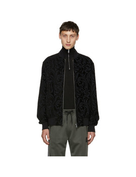Black Jacquard Brocade Bomber Jacket by Versace