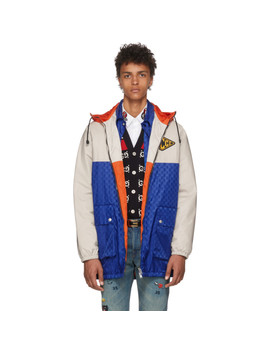 Blue & Beige Jacquard Gg Hooded Jacket by Gucci