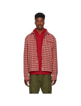 Red Dimensional Plaid Shirt by Simon Miller