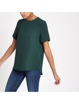 Green Zip Back Loose Fit T Shirt by River Island
