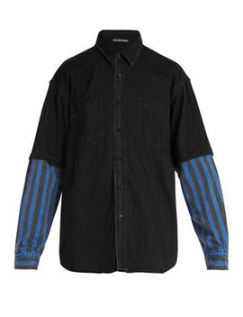 Contrast Sleeved Denim Shirt by Balenciaga