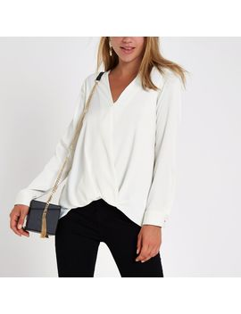 Cream Wrap Tuck Front Long Sleeve Blouse by River Island