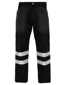 Cotton And Wool Blend Reflective Trimmed Trousers by Junya Watanabe