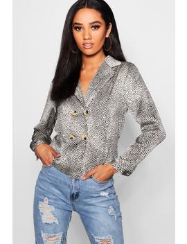 Petite Printed Button Wrap Blouse by Boohoo