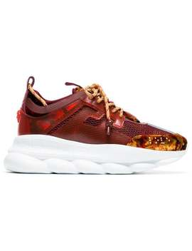 Versaceburgundy Chain Reaction Mesh Velvet Sneakershome Men Versace Shoes Low Tops by Versace