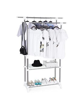Songmics Double Clothes Rail Telescopic Extendable Coat Garment Rack Shoe Shelf Stainless Steel Clad Pipe 154 X 42 X 172 Cm Llr03 W by Songmics