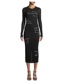 Ruffin Embroidered Long Sleeve Midi Dress by Cinq A Sept