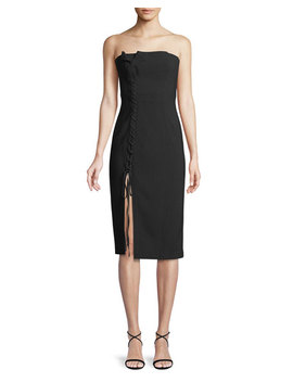 Charlotte Strapless Lace Up Midi Dress by Cinq A Sept