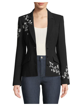 Gabrielle Floral Embroidered Blazer by Cinq A Sept