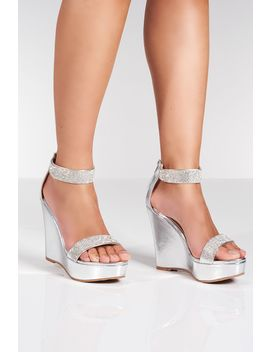 S Ilver Diamante High Wedges by Quiz