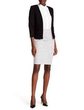 Mini Windowpane Ponte Pencil Skirt by Amanda & Chelsea