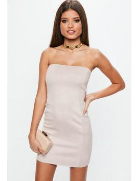 Nude Faux Suede Bandeau Mini Dress by Missguided
