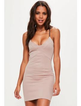 Pink Panelled Strappy Bodycon Dress by Missguided