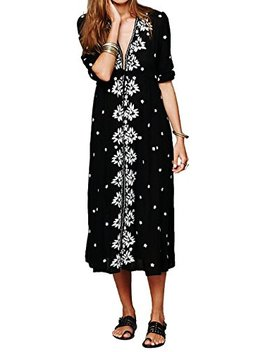 R.Vivimos Women Boho Floral Embroidered Casual Drawstring Tie Cotton Long Dresses by R.Vivimos