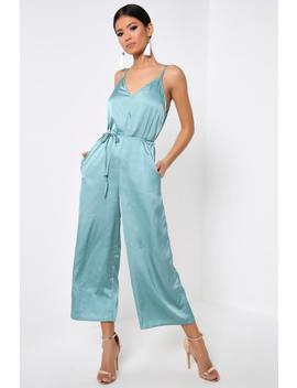 Blue Satin Strappy Wide Leg Jumpsuit by I Saw It First