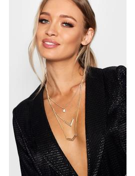 Double Arrow Layered Necklace by Boohoo