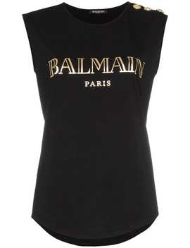 Balmainsleeveless Logo Print T Shirthome Women Balmain Clothing Vests & Tank Tops by Balmain
