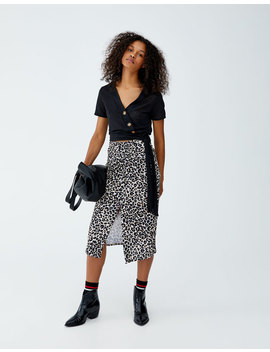 Leopard Print Skirt With Slit by Pull & Bear