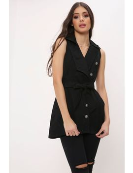 Black Military Sleeveless Jacket by I Saw It First