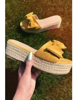 Marissa Yellow Suede Bow Detail Espadrille Flatform Wedges by Misspap