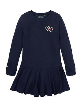 Little Girl's Long Sleeve Graphic French Terry Dress by Ralph Lauren Childrenswear