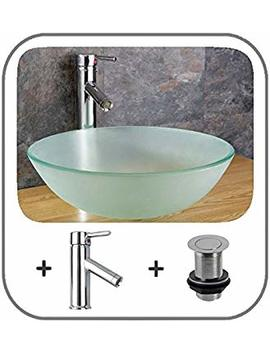 Clickbasin Soria 35cm Frosted Glass Circular Countertop Sink With Pop Up And Tap by Clickbasin