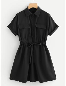 Drawstring Waist Shirt Dress by Shein