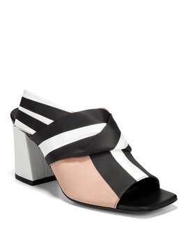 Elly Striped Colorblock Satin Block Heel Dress Mules by Generic