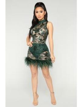 Mid Night In Paris Feather Dress   Hunter by Fashion Nova