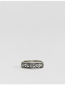 Asos Design Ring Pack With Embossing In Burnished Silver by Asos Design