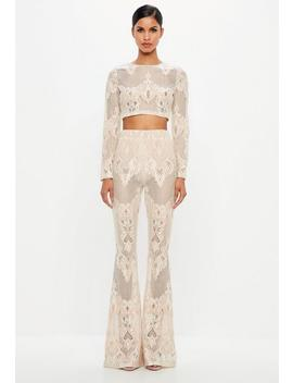 Peace + Love Cream Lace Flare Trousers by Missguided