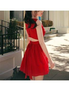 Sleeveless Cutout Shirred Dress by Doowex