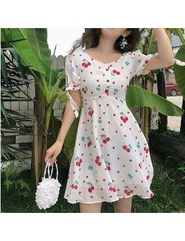 Cherry Print Short Sleeve A Line Dress by Kendy
