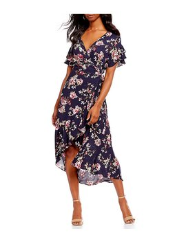 Floral Printed Ruffle Wrap Dress by Generic