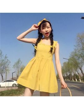 Frill Trim Sleeveless A Line Dress by Honey Diary