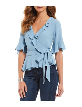 Ruffle Bell Sleeve Tie Waist Wrap Top by Generic